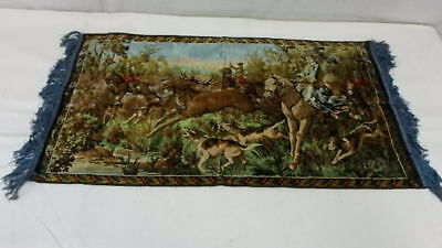 Vintage French Tapestry Victorian Hunting Scene Embroidery Deer Hunt 39½ x 21¼