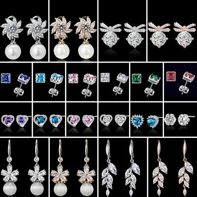 Leaves Tassel Pearl Crystal Rhinestone Ear Stud Earrings Wedding Bridal Jewelry