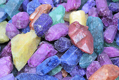 Large Natural Dyed Quartz Crystal Points 500 Carat Lot (Reiki Mineral Wand)