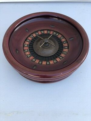 Antique 1930's Signed/Stamped Solid Wood Roulette Casino Wheel Game