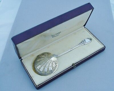 Stunning French Silver Large Shell Ladle Spoon Art Nouveau In Original Box