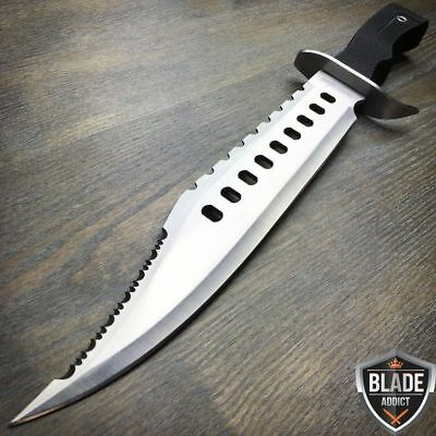 "17"" Tactical Hunting Rambo Full Tang Fixed Blade Knife Machete Bowie + Sheath"