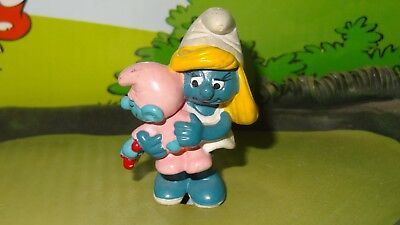 Smurfs Smurfette holding Pink Baby Smurf Official Classic Toy Figurine Vintage