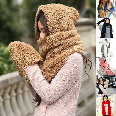 Multi-function Gloves With Pocket Fluffy Hood Scarf Earflap Hat Winter Warm Lady