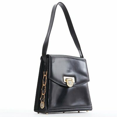 GIANNI VERSACE black smooth leather gold silver Medusa buckle chain trim box bag