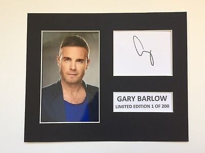 Limited Edition GARY BARLOW Signed Mount Display Music  AUTOGRAPH TAKE THAT
