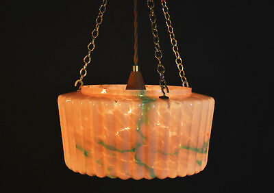 art deco moulded Flying Saucer marble cased glass ceiling lantern light shade