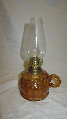 Vintage Oil Lamp With Brown Glass Base (Never Used)