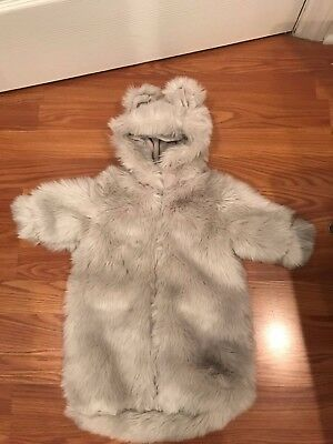 Restoration Hardware Baby & Child Faux Fur Baby Bunting Grey 0-6 Mon