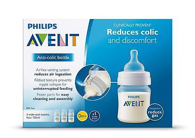 NEW Philips Avent Anti-Colic baby bottle 3 pack 4 oz wide neck