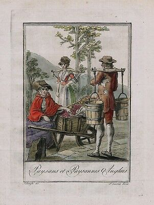 1780 - England English Britain British costume engraving antique print