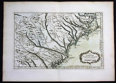 1764 - Carolina North South Charleston Wilmington Bellin handcolored antique map