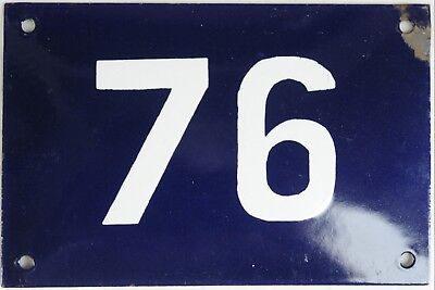 Old blue French house number 76 door gate plate plaque wall enamel steel sign