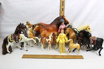 "LOT x 9 BREYER HORSES Various Breeds 5-9""H and 2 authentic Breyer Dolls /Figures"