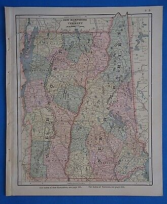 Vintage 1885 NEW HAMPSHIRE - VERMONT MAP ~ Old Antique Original Atlas Map 101818