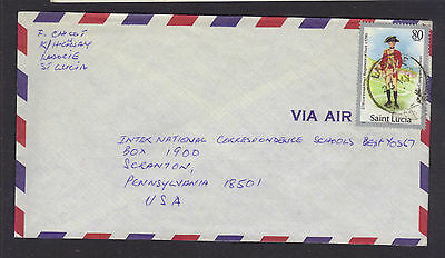 St. Lucia LABORIE Village Postmark/Cancel 1980s Commercial Cover to USA