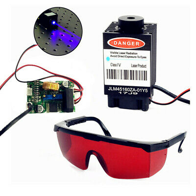 Focusable 2.5W 2500mW 450nm Blue Laser Module TTL+ signal Engraving Goggle Set