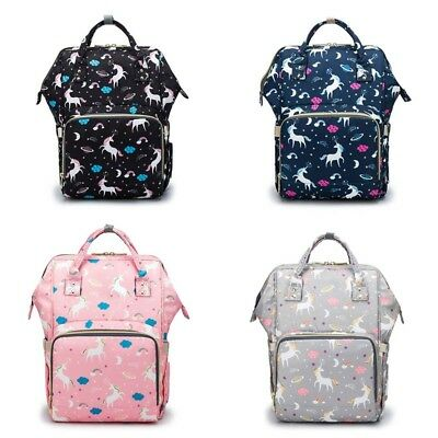 Unicorn Travel Waterproof Mummy Nappy Diaper Bag Baby  Changing Nursing Backpack
