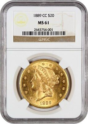 1889-CC NGC MS61 - Liberty Double Eagle - Gold Coin