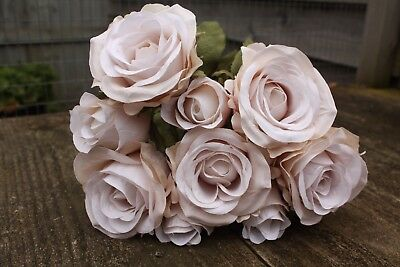 9 x PALE MOCHA CREAM SILK ROSES & ROSE BUDS TIED BUNCH / SMALL BOUQUET