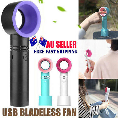 360 Degrees Bladeless Hand Held Portable Cooler Mini USB Cable No Leaf Handy Fan
