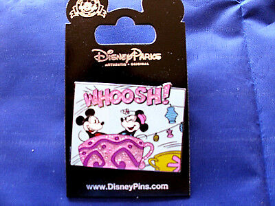 Disney * MICKEY & MINNIE in SPARKLE TEACUP - WHOOSH! * New on Card Trading Pin