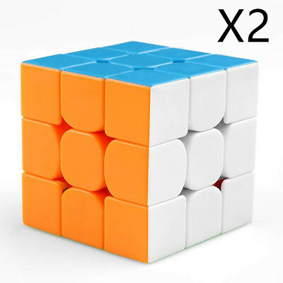 Set of 2 Magic Cube Puzzle Twist Classic Gift Speed Rubik's Cube 3*3*3 Toy