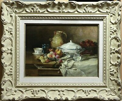 19th CENTURY FRENCH OIL ON PANEL - FRUIT CHINA GLASSWARE DINING TABLE - SIGNED