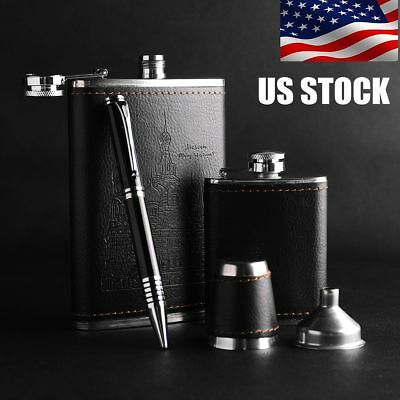 9oz+3oz Pocket Stainless Steel Leather Wrapped Liquor Hip Flask Funnel Cup Set