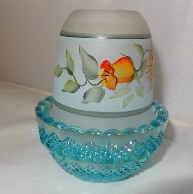New Mosser Glass HP Hip on Aqua Opalescent  Fairy Light Lamp 209AORH