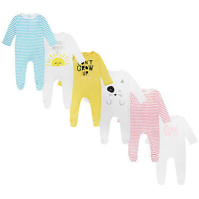 BABY BOYS GIRLS 3 PACK SLEEPSUITS EX CARREFOUR 100% COTTON BABYGROWS 1m-36m NEW