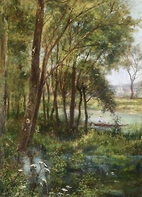 19th CENTURY FRENCH IMPRESSIONIST OIL BOATING ON THE RIVER - WILDFLOWERS
