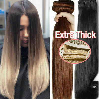 Extra Thick Clip in Double Weft Human Remy Hair Extensions Highlight Ombre UK M5