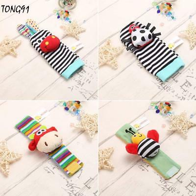 Cute Animal Infant Baby Kids Hand Wrist Bell Foot Sock Rattles Soft Toy new