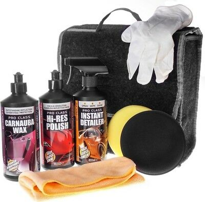 E-Tech 8pce Carnauba Wax, Polish & Instant Detailer Car Valeting Kit - GIFT IDEA