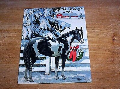 18  Lang Christmas Cards  Black & White Overo Pinto Paint Horse    NIB