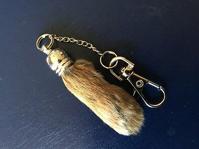 LUCKY REAL NATURAL RABBITS FOOT quality key ring lotto bingo tests exams etc