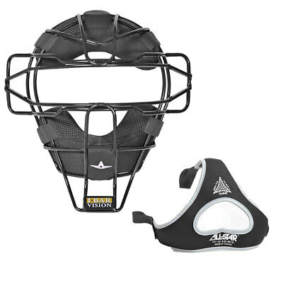 All Star Sports Traditional Baseball Catcher Face Mask with Luc Pads, Black