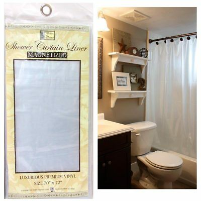 Frosted Clear Shower Curtain Liner 100% Vinyl 70x72 Magnetic Mildew Repellent !