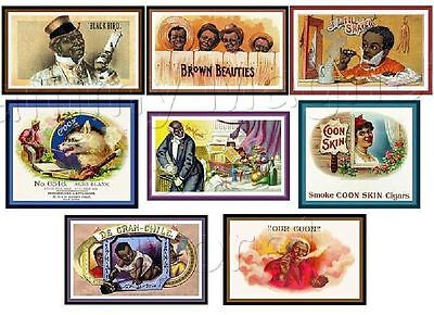 EIGHT MAGNETS Black Americana Antique Cigar Labels - #2 - Ship FREE