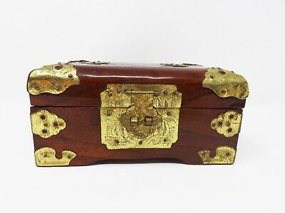 Vintage Chinese Rosewood & Brass Accents Jewelry Box with a Jade Medallion