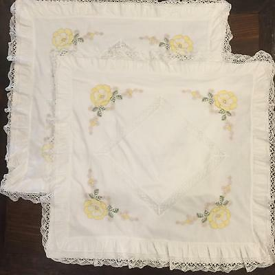 Vtg Pair Yellow Flower Embroidery & Lace European 30x30 Insert Pillow Shams S14