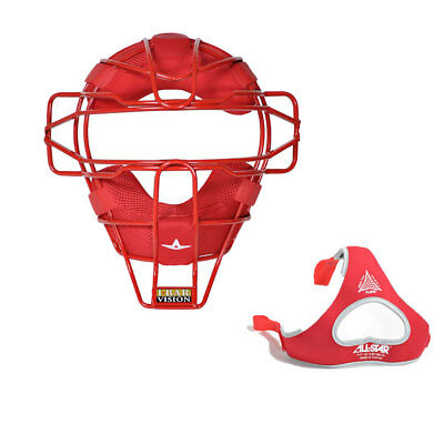 All Star Sports Traditional Baseball Catcher Face Mask w/ Luc Pads, Scarlet