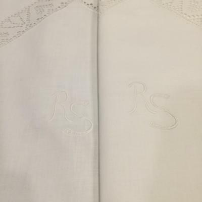 Vtg Pair Embroidery & Lace RS Mono Heavy European 30x30 Insert Pillow Shams S13