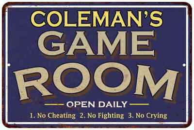 COLEMAN'S Blue Game Room Personalized Sign Metal Wall Decor Gift 112180002084