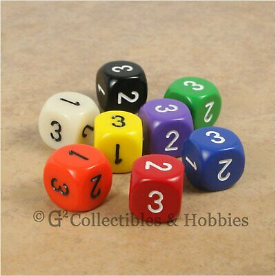 NEW Set of 8 D3 Six Sided 1 to 3 Twice Game Dice D/&D RPG 16mm 8 Colors