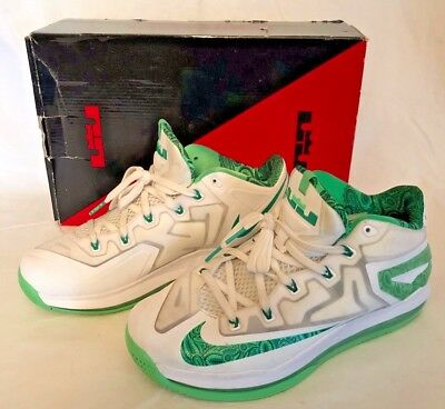 58dbaf71e801 Nike Air Max 642849-100 Lebron 11 XI Low Easter White Green Shoes Mens