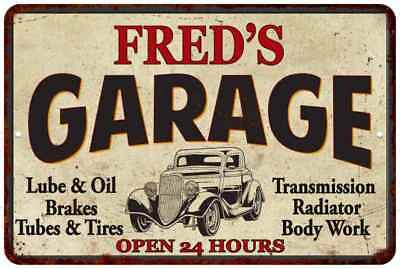 Fred/'s Garage Man Cave Rules Personalized Gift Shield Metal Sign 211110001060