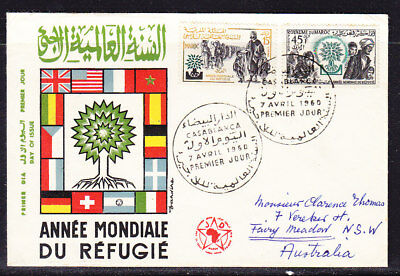 Morocco 1960 Refugee Year First Day Cover to  Australia