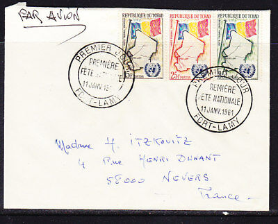 Tchad 1961 National Flag Admission to UN Cover to France